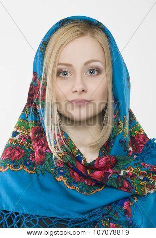 Slavic girl in shawl