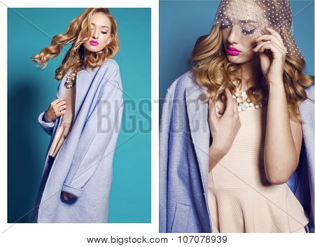 Collage Of Fashion Studio Photos Of Gorgeous Young Woman With Blond Curly Hair