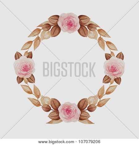 Wreath of autumn golden leaves with pink roses.