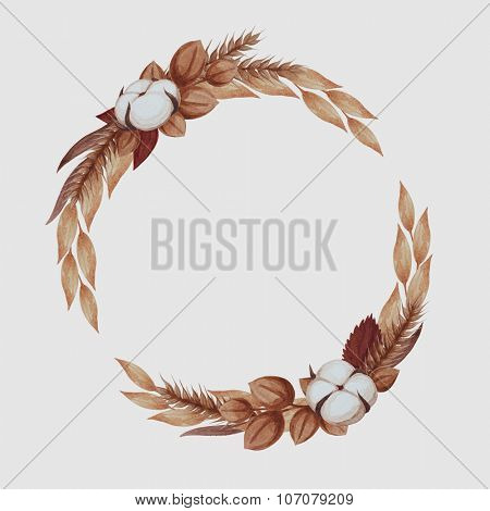 Wreath of autumn golden leaves with cotton flower and wheat.