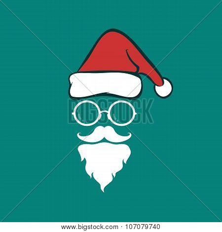 Santa Hats And Beards And Eyeglasses On Blue Background. Christmas Icon