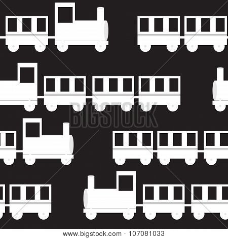 Children Train Seamless Pattern Vector Illustration
