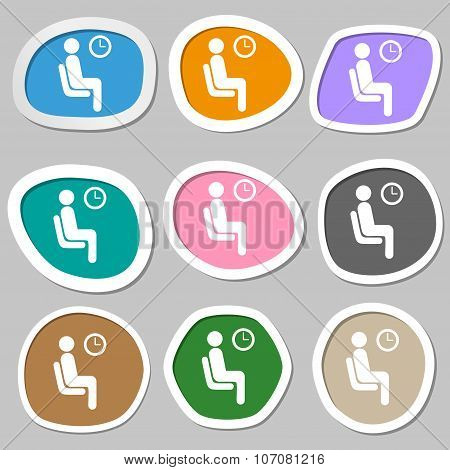 Waiting Icon Symbols. Multicolored Paper Stickers. Vector