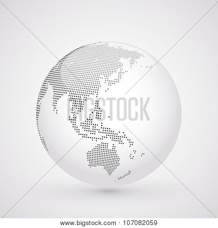 Abstract dotted globe, Central heating view on Australia and New Zealand