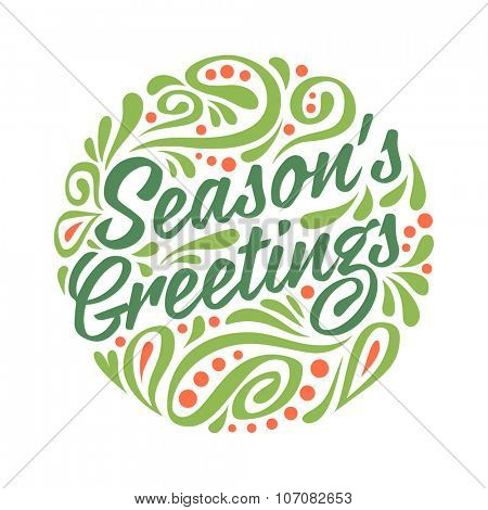 Holidays greeting card with abstract doodle Christmas ball. Colorfull illustration. Season's greeting