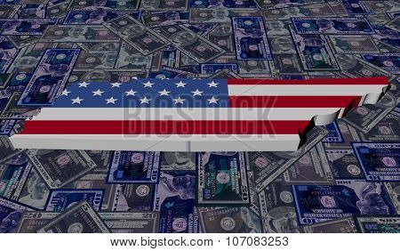 Tennessee map flag on dollars illustration