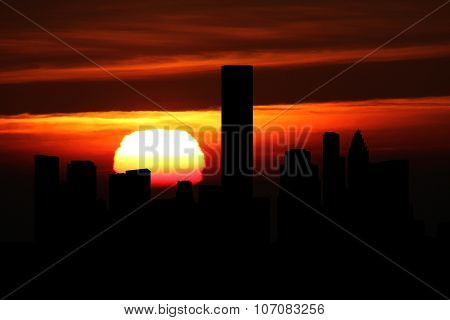 Houston skyline at sunset illustration