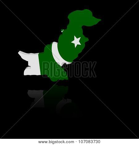 Pakistan map flag with reflection illustration