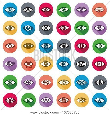 collection of thirty six color eyes icons