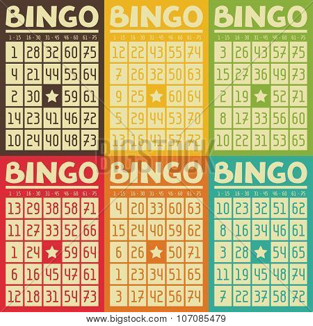 Set of retro  bingo or lottery cards for game