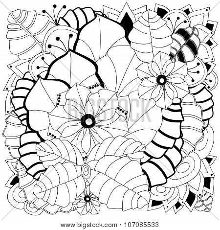 Stock Vector Floral Black And White Doodle Pattern.