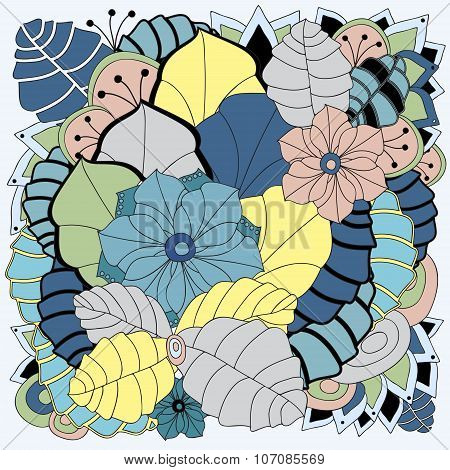 Stock Vector Floral Color Doodle Pattern.