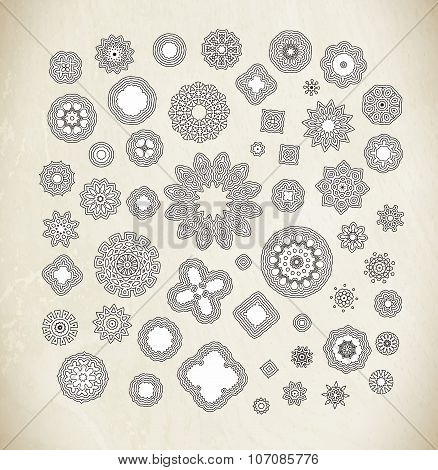 Black hand drawn vector background.Circular pattern