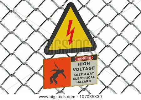 High Voltage Sign On Guard Metallic Mesh
