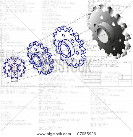 Illustration showing a process of transforming items from the project to the product. Drawing - shape - model - item. This gear wheel or chain sprocket is the driven element of the transmission