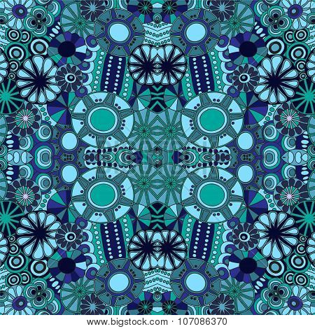 Stock Vector Seamless Floral Blue Doodle Pattern.