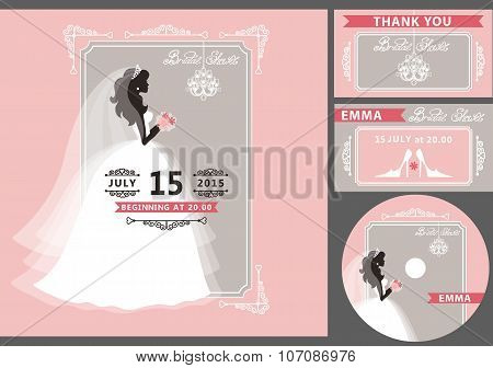 Bridal shower template set.Bride silhouette,frame,chandelier