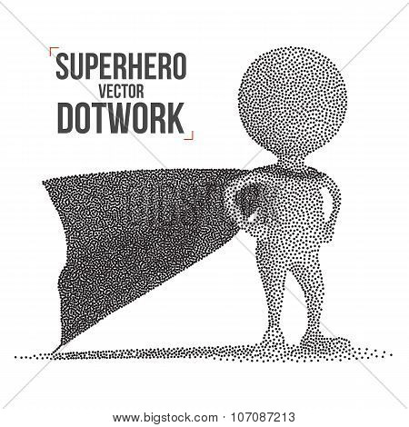 Dotwork Halftone Vector Superhero