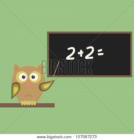 Owl-teacher with chalkboard