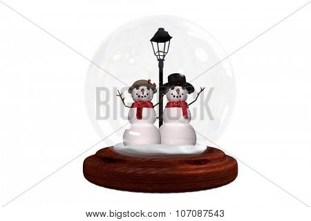 Happy snow couple in snow globe on white background