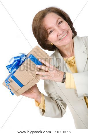 Business Woman Happy With Gift