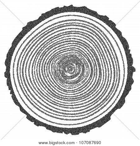 Dotwork Halftone Vector Tree Rings