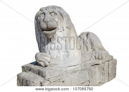 Stone Statue Of  Lion, Isolated