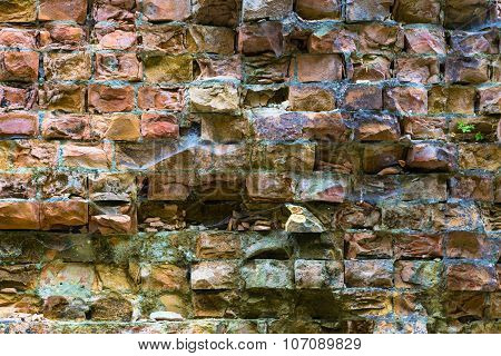 Old Dilapidated Brick Wall