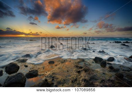 colorful sunrise from Sandy Beach, Oahu, Hawaii, USA