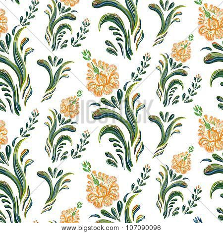 Abstract orange elegance seamless pattern with floral background.