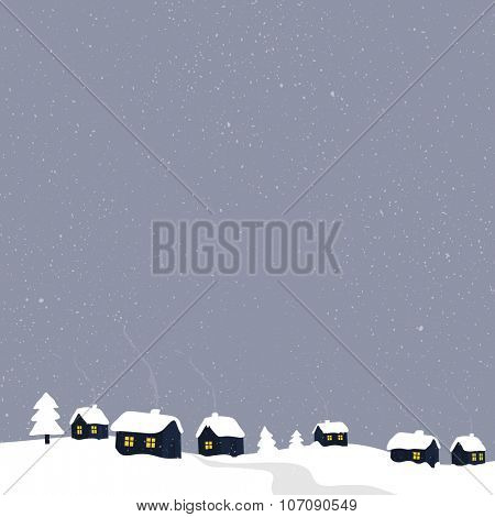 Winter countryside with village houses. Greeting card illustration.