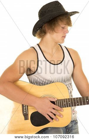 Young Man Playing A Guitar With Cowboy Hat Tank Top