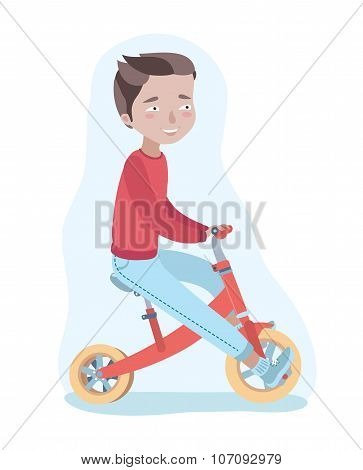 Boy Is Riding Red Tricycle
