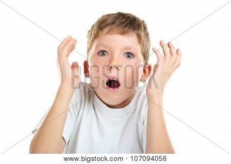 Portrait Of Emotional Little Boy On White Background
