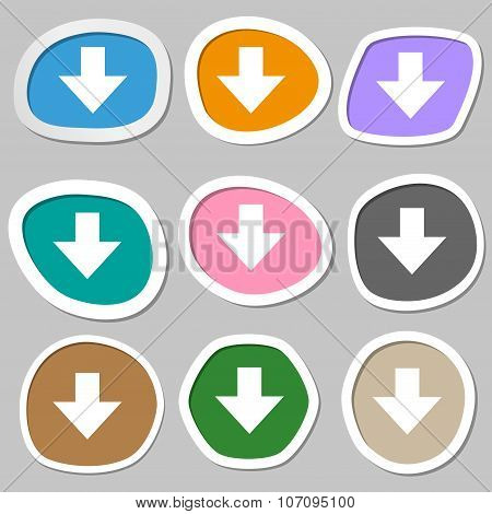 Download Sign. Downloading Flat Icon. Load Label. Multicolored Paper Stickers. Vector