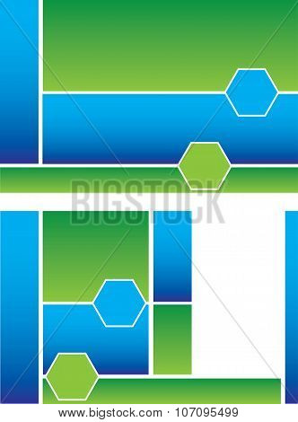 Half Fold Blue Green Brochure