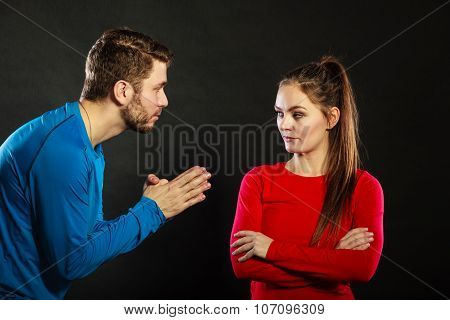 Regretful Man Husband Apologizing Upset Woman Wife
