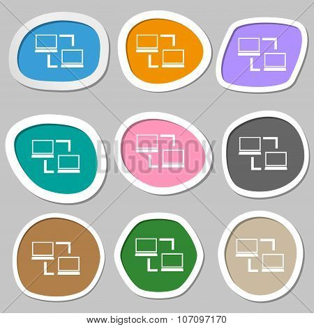 Synchronization Sign Icon. Notebooks Sync Symbol. Data Exchange. Multicolored Paper Stickers. Vector