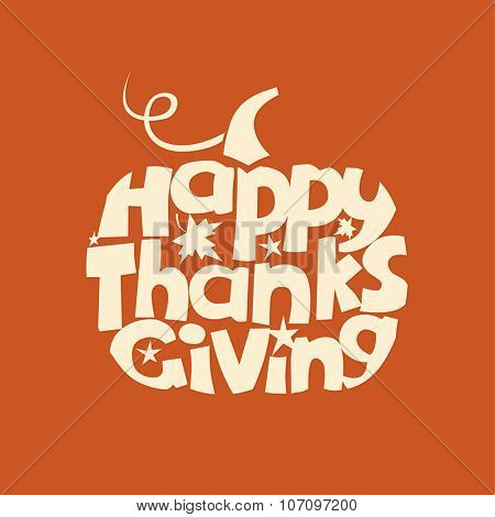 Thanksgiving Day greeting card with pumpkin symbol. Vector illustration.