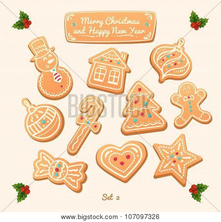Gingerbread cookies on white background. Snowflake, star, man, angel, candy shapes.