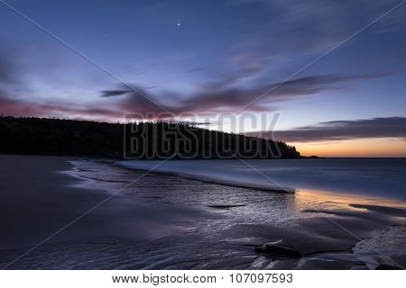 Twilight at Sand Beach in Maine