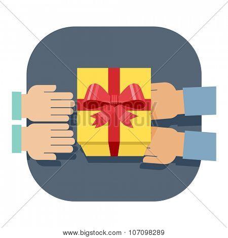 Illustration of gift-giving. Flat design illustration of hands giving present. Vector illustration.