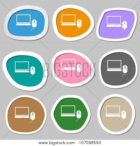 Computer Widescreen Monitor, Mouse Sign Icon. Multicolored Paper Stickers. Vector