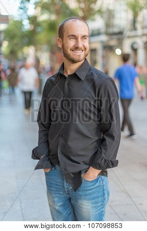 Portrait of a male in his thirties in Madrid downtown