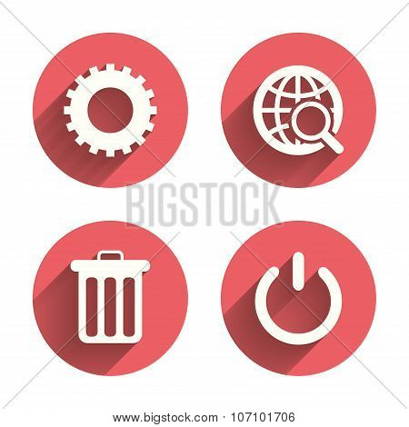 Globe magnifier glass and gear signs.