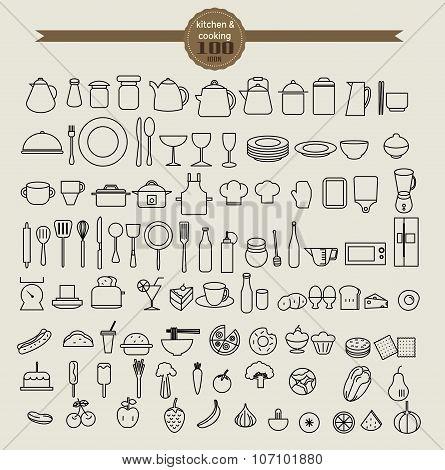 Kitchen Tool Icon Set And Food Icon Set. Vector Illustration