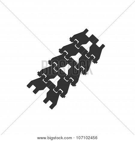 Silhouette Of Crawler Track