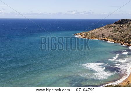 View On Ramla Bay On Malta On Mediterranean Sea, Europe