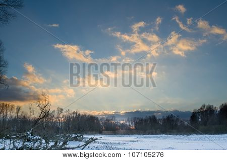 Snowy Winter Danube Backwater Landscape After Sunset