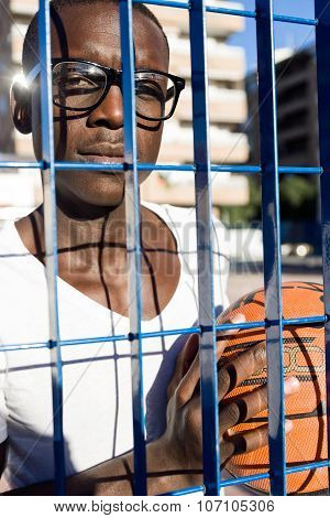 Handsome Young Man Playing Basketball.